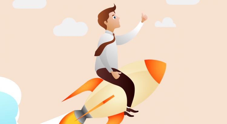 IT-Pro Support | IT Support Denbighshire | Man on rocket cartoon